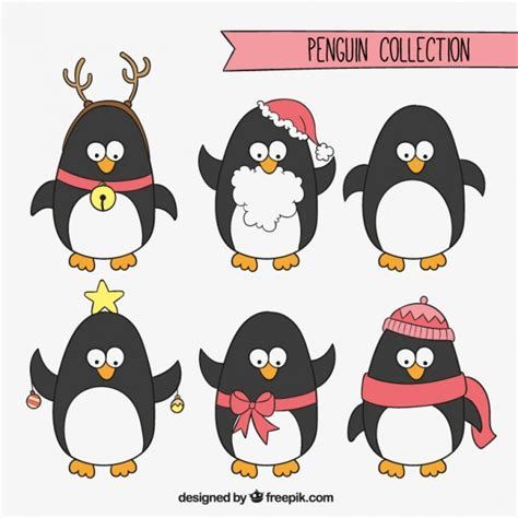 christmas penguins collection vector free download