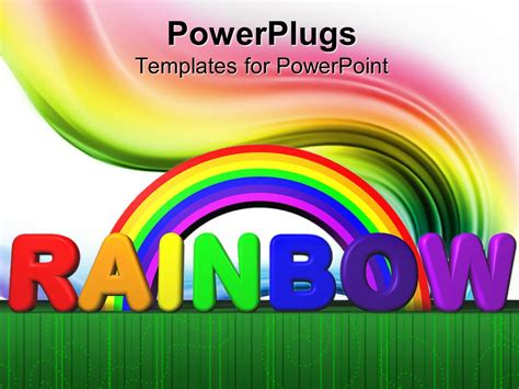 Powerpoint Template Rainbow With Text Lettering Colored Swirl Green Line Border White Powerpoint Rainbow Template