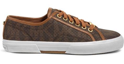 michael kors brown sneakers michael kors boerum logo leather trimmed sneaker in brown
