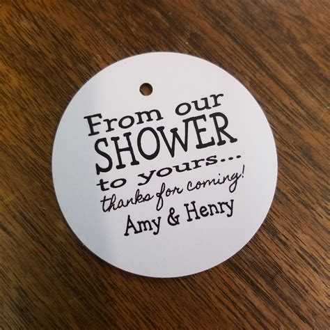 from our shower to yours personalized shower favor tag