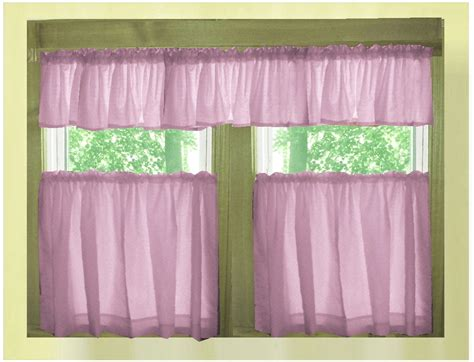 Valance Curtains For Kitchen Solid Violet Purple Caf 233 Style Tier Curtain Includes 2 Valances And 2 Kitchen Curtain Panels In