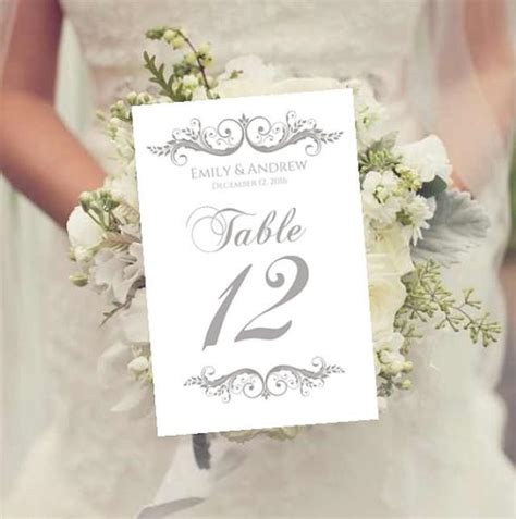 wedding table numbers template instant charcoal