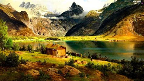 cottage in mountains lake cottage mountains beautiful views wallpapers