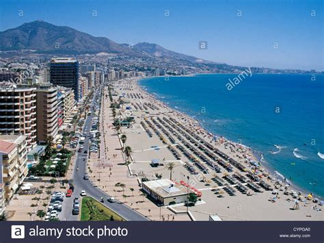 mlaga y costa del beach and boardwalk fuengirola costa del sol malaga andalusia spain stock photo royalty free