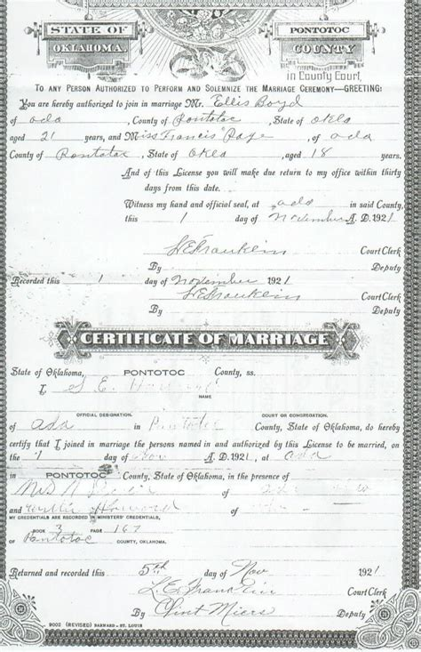 Marriage Records Oklahoma Pontotoc Co Ok Vital Records