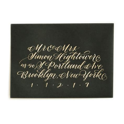 Wedding Invitations 50 Cents by Gold Ink On Black Envelope 50 Cent Style Wedding