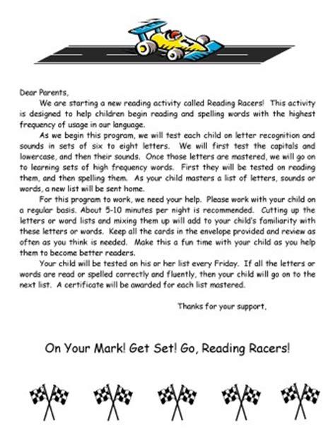 Parent Letter Reading Level Reading Racers Grade Parent Letter