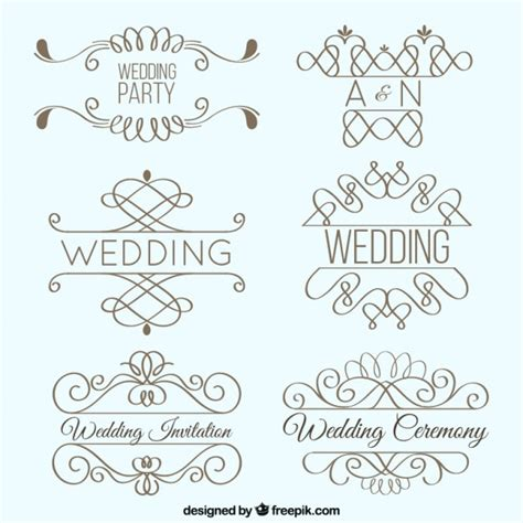 Wedding Fonts Pack Free by Lineal Wedding Ornaments Pack Vector Free