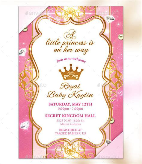 Free Princess Baby Shower Invitation Templates 17 princess invitations free psd vector ai eps format