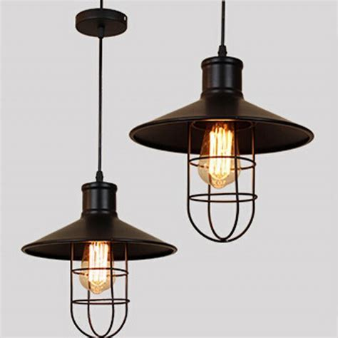 industrial cage pendant light vintage lshade edison bulb american loft style