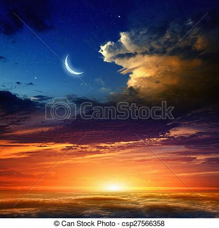 sunset and moon beautiful background new moon in