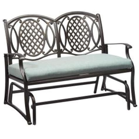 home depot paint glider hton bay belcourt metal outdoor glider with spa cushion