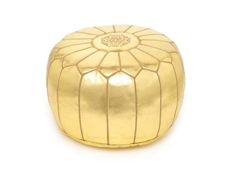 gold ottoman pouf gold with sand embroidery imports from marrakesh