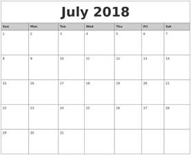 Printable Monthly Calendar 2017 July Calendars