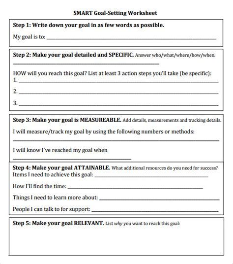 goal setting template for employees goal setting template 12 free documents in pdf