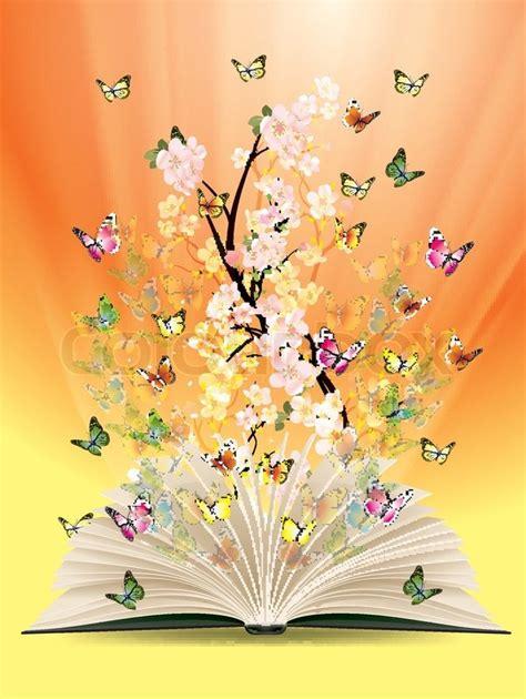 libro the butterfly 229 ben bog med sommerfugle flyvende fra det stock vektor colourbox
