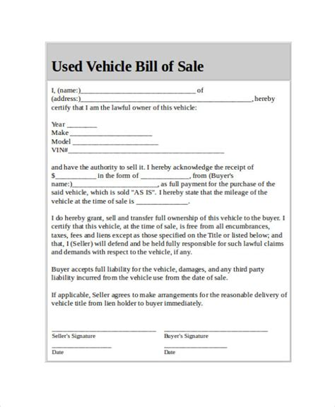 sle car bill of sale car bill of sale form template printable