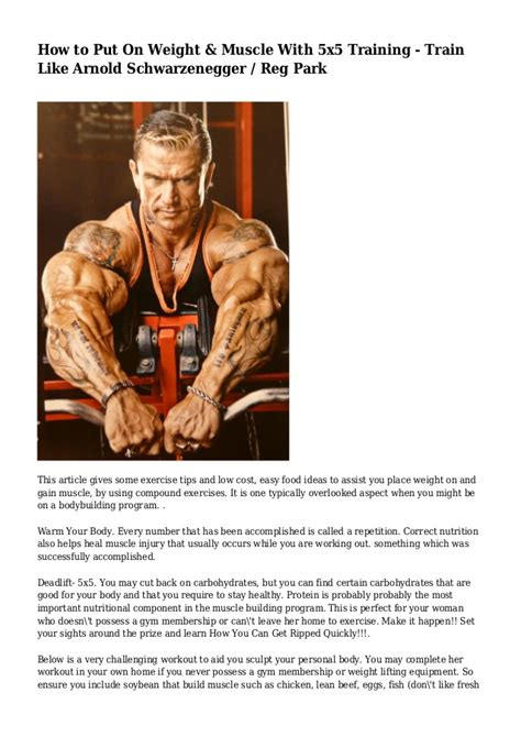 how to put weight on a how to put on weight with 5x5 like arnold s