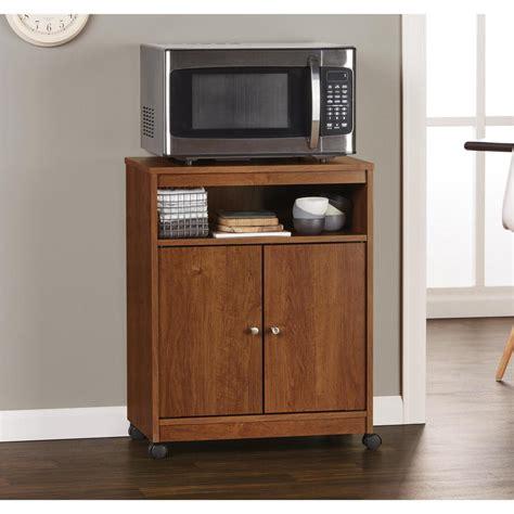 Diy Building Kitchen Cabinets Altra Furniture Landry Medium Brown Microwave Cart
