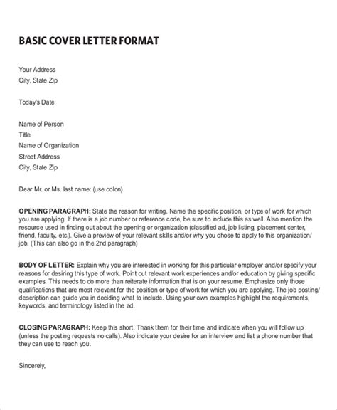 Cover Letter Exle Basic Sle Resume Cover Letter Format 6 Documents In Pdf Word