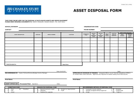asset form template asset minor equipment disposal form