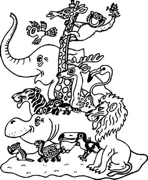 animal family coloring page cartoon pictures zoo animals family coloring page
