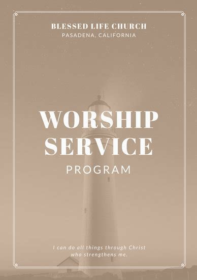 Customize 110  Church Program templates online   Canva