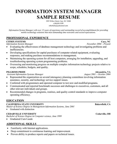 Resume Job Bullet Points by Information Systems Resume Example
