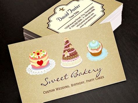 Cake Design Business Card Template by Wedding Birthday Cakes Business Card Template Bakery