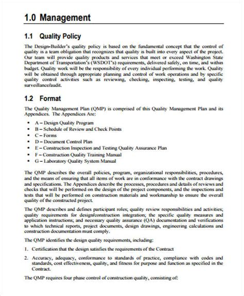 contractor quality plan template 42 management plan templates pdf word free premium
