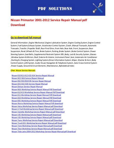 nissan primastar 2001 2012 service repair manual pdf download