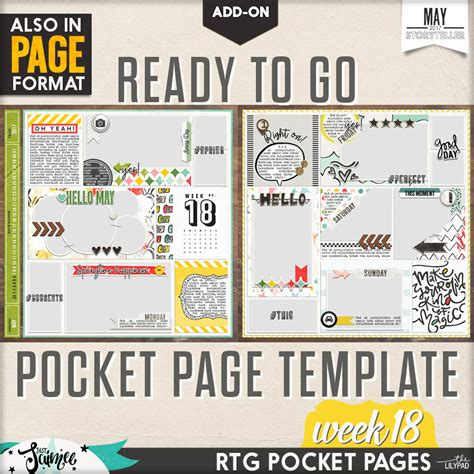 add on templates for pages ready to go 12 x 12 pocket page templates week 18