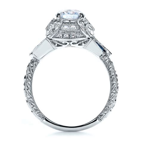 halo engagement ring with sapphires vanna k 100094
