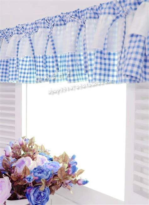 Aliexpress Com Buy Free Shipping Blue White Plaid Blue And White Kitchen Curtains