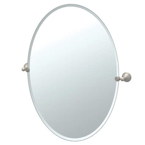 oval frameless bathroom mirror shop gatco laurel avenue 24 in x 32 in satin nickel oval