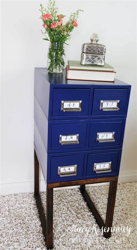 turning a card catalog into a side table not just a