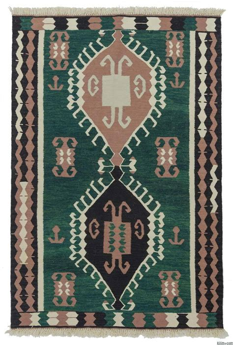 turkish kilim rug k0013265 green new turkish kilim rug