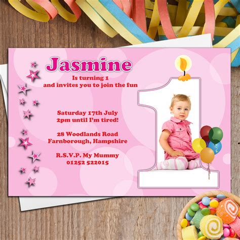 1st birthday invitations uk 10 personalised 1st birthday photo invitations n20