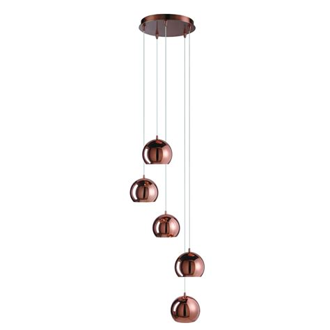 Drop Pendant Light Searchlight Lighting Domas 5 Light Multi Drop Ceiling Pendant In Copper Finish With Dome Shades