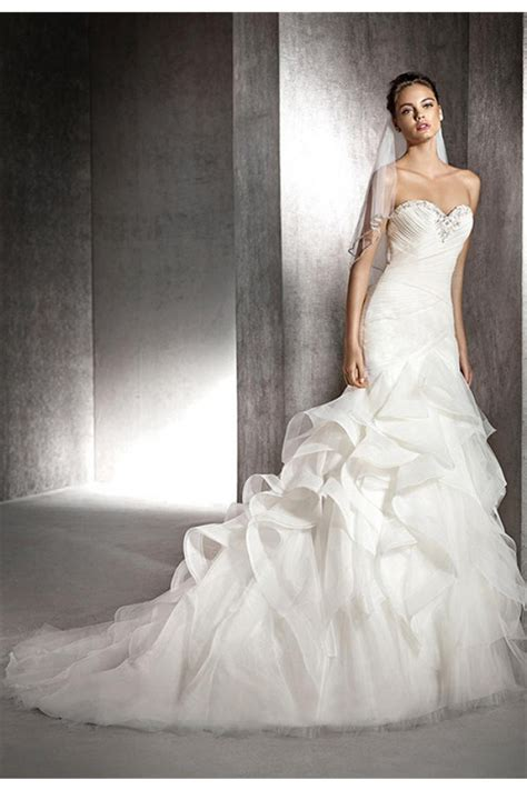 charming mermaid strapless sweetheart ruched tulle ruffle