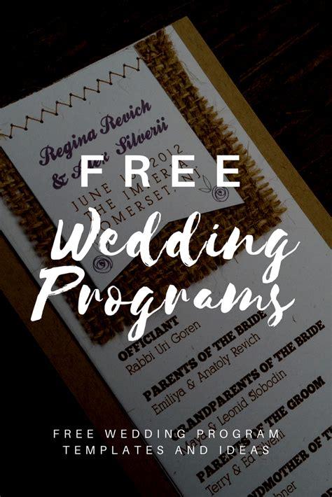 Free Wedding Program Templates Wedding Program Ideas Free Downloadable Wedding Program Templates