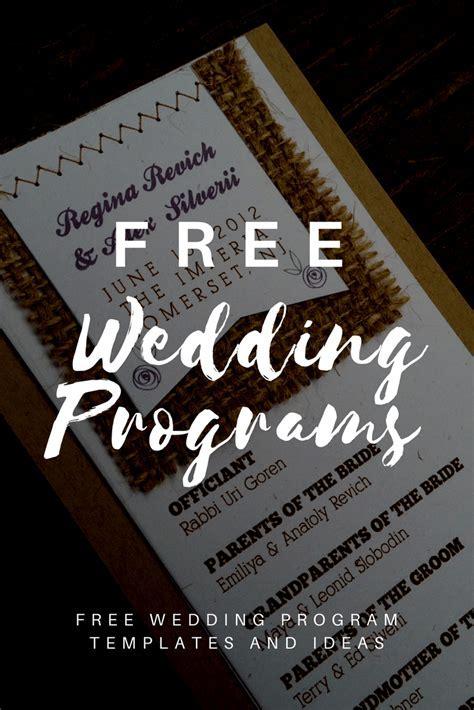 Free Wedding Program Templates   Wedding Program Ideas