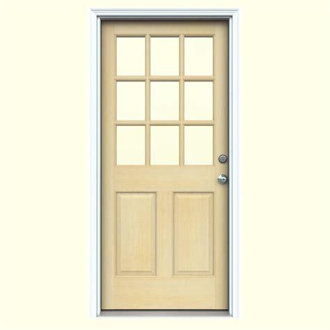 32 X 73 Exterior Door Jeld Wen 32 In X 80 In 9 Lite Unfinished Wood Prehung Left Inswing Front Door W Primed