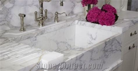 marble kitchen sink top calacatta carrara marble kitchen top with solid sink from