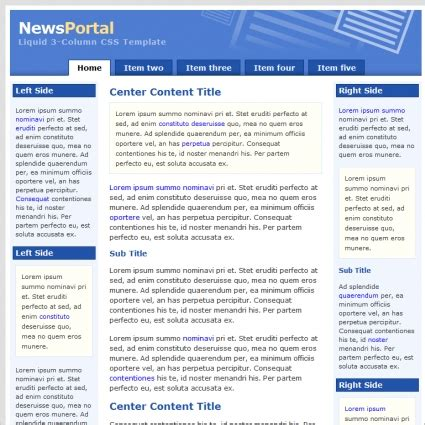 news portal template free website templates in css html