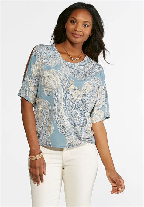 Sleeve Slit Sleeve Knit Top metallic paisley slit sleeve top tees knit tops cato