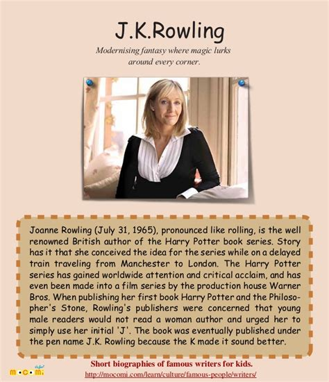 biography famous english writers j k rowling famous writer for kids