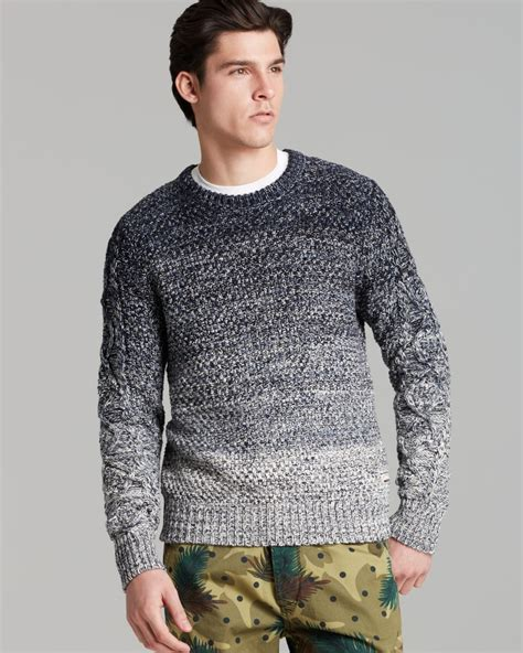 mens knit sweaters lyst scotch soda ombr 233 cable knit sweater in gray for