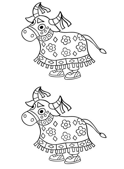 Desenho para colorir Bumba Meu Boi duplo + arquivo Word