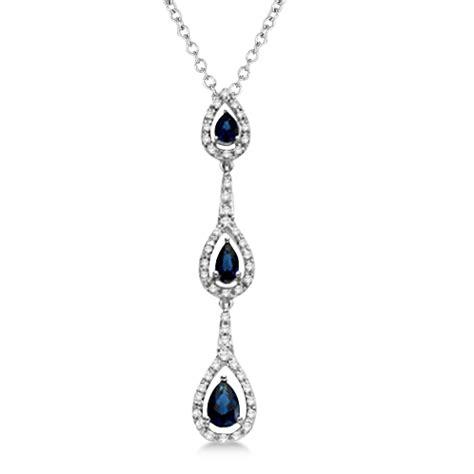 Blue Sapphire 2 86ct pear blue sapphire pendant 14k white gold